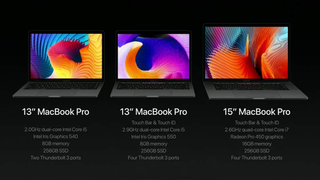 Nieuwe MacBook Pro line up